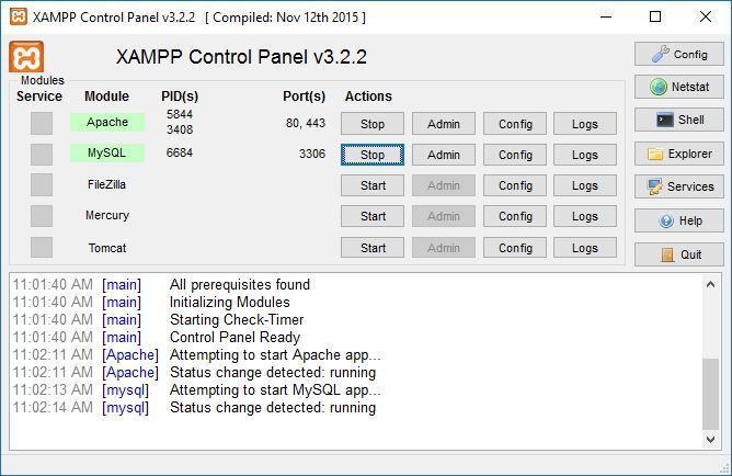 configure XAMPP on Windows 10