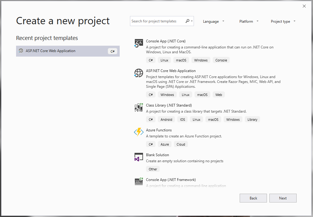 select type of new project in visual studio