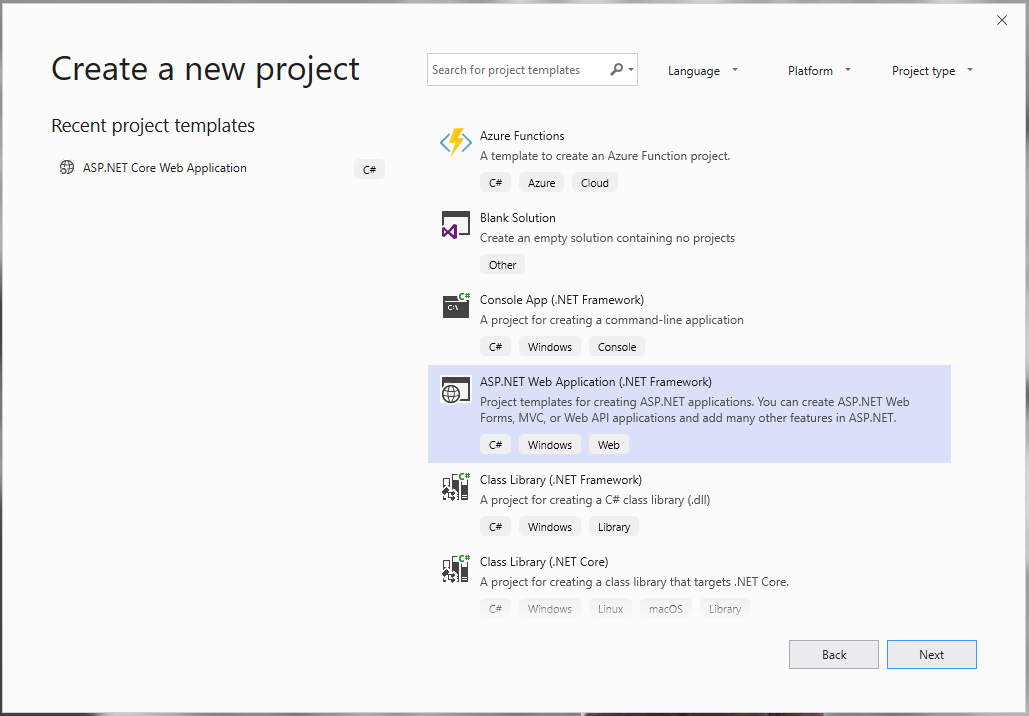 Create new ASP MVC Project