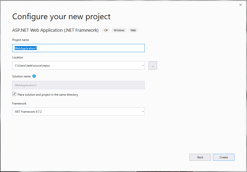 configure you new project in visual studio 2019