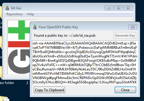 Generate new SSH Key in GIT GUI