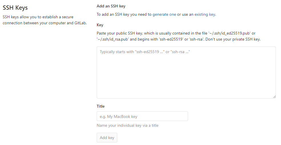 add SSH key from Git GUI to Gitlab