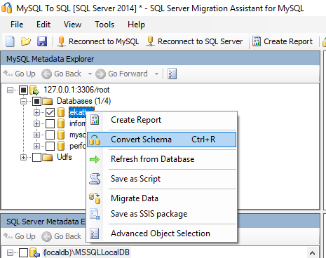 MySQL to MSSQL Select MySQL Database to Convert Schema