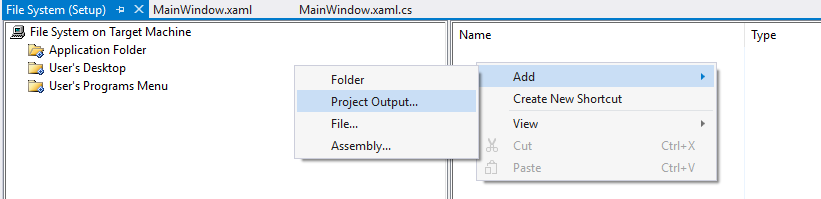 add project output in visual studio installer project